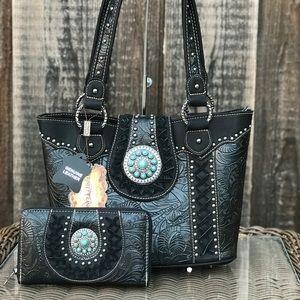 Western Montana west tooled handbag&wallet set
